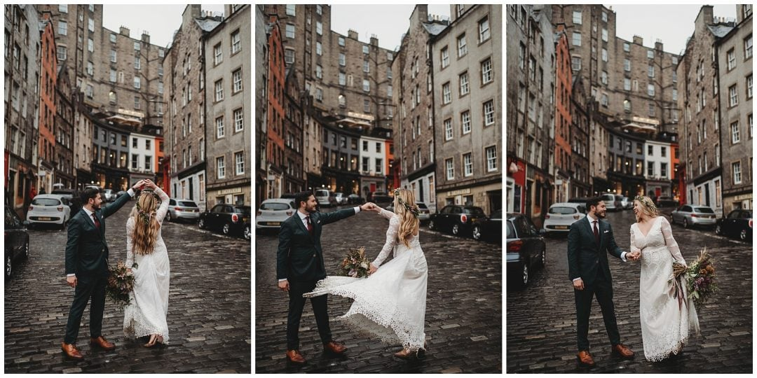 Couple dancing in Victoria Street Grassmarket in Edinburgh