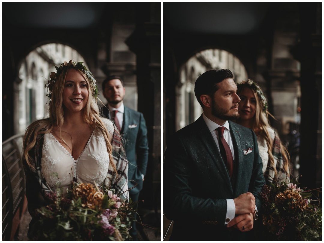 Adventure elopement couple in Edinburgh city centre - flower crown