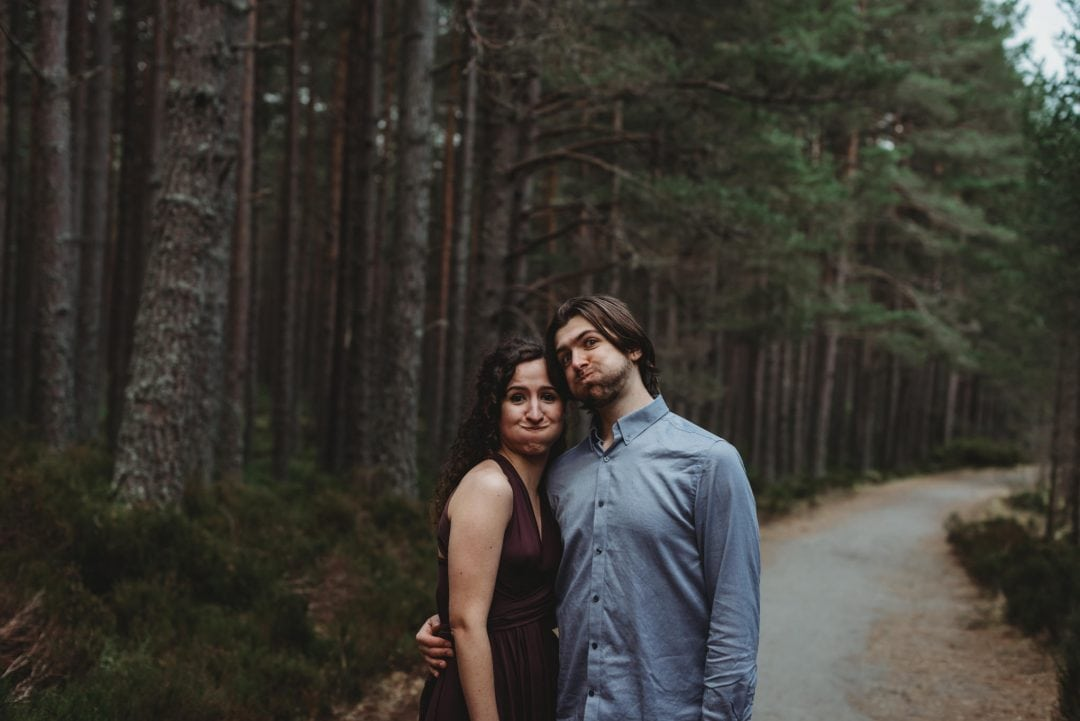 blooper photo from couples session in the Cairngorms