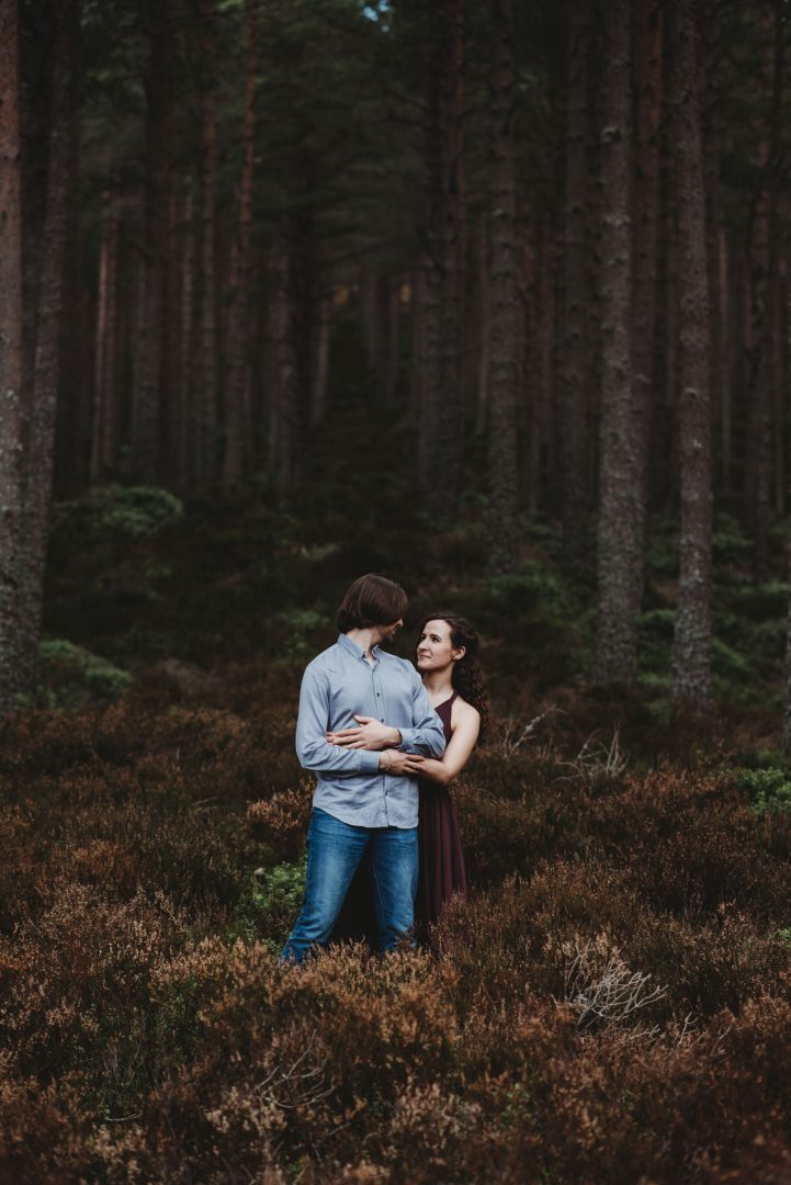 Aviemore adventure session - woodlands in the Carngorms - romantic couple