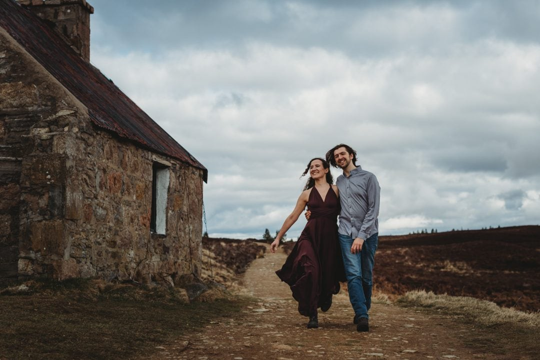 Dancing by bothy - couples session in the Cairngorms, Scottish Highlands