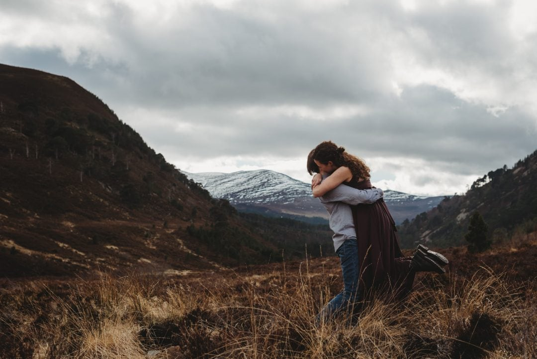 Scottish couple playing in the Highlands - in love