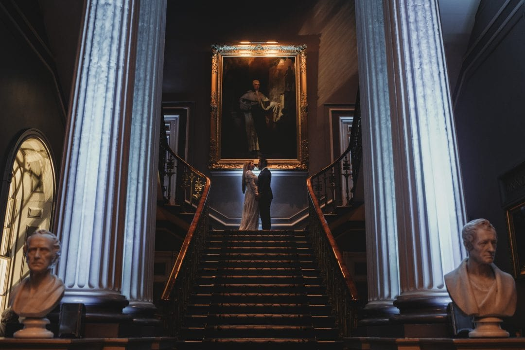 Beautiful elopement couple inside Signet Library Edinburgh city centre