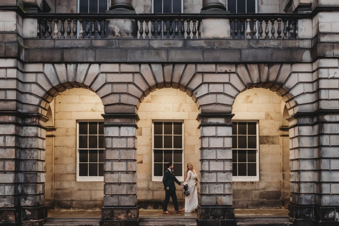 Beautiful elopement couple in Edinburgh city centre