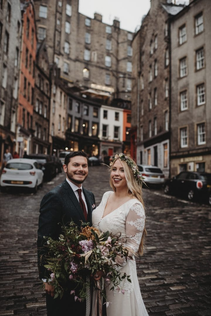 Bohemian elopement couple in Edinburgh city centre - Victoria Street
