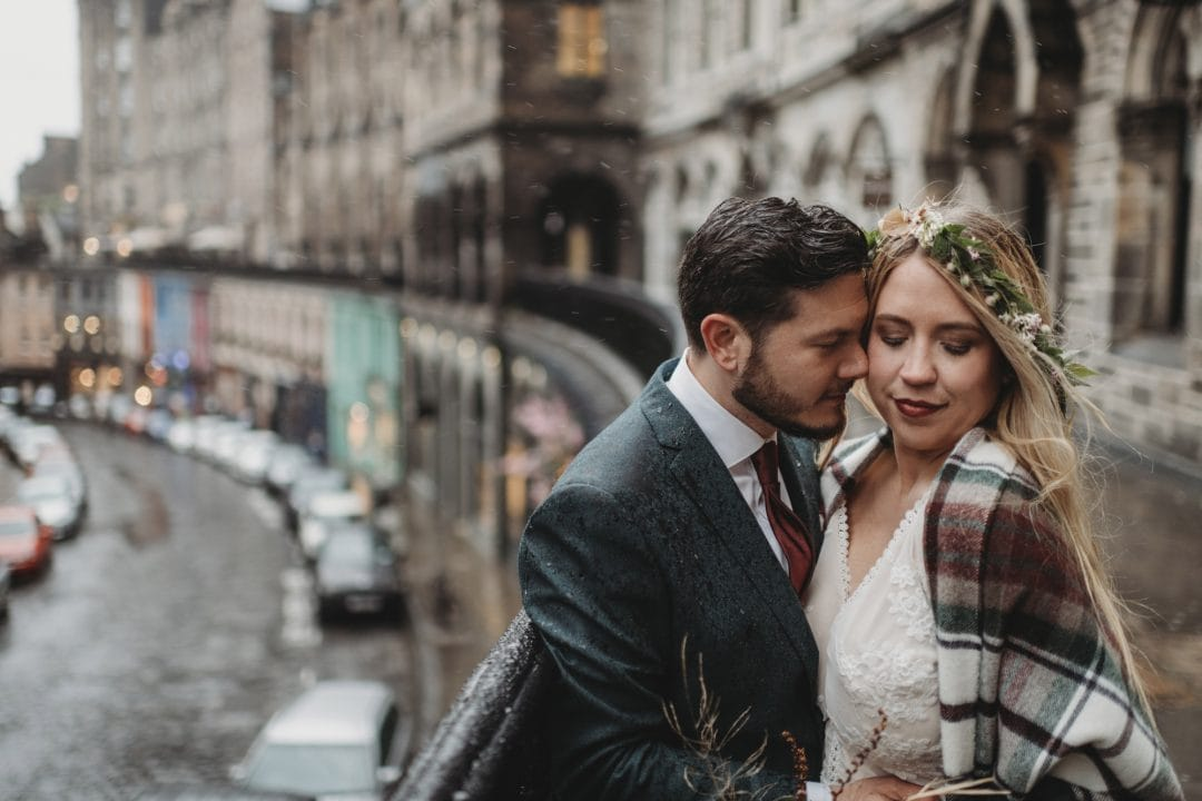 Adventure elopement couple in Victoria Street, Edinburgh city centre - flower crown
