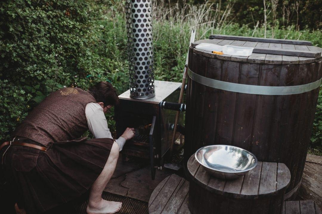 hot tub couples celebration at roulotte retreat, Scotland