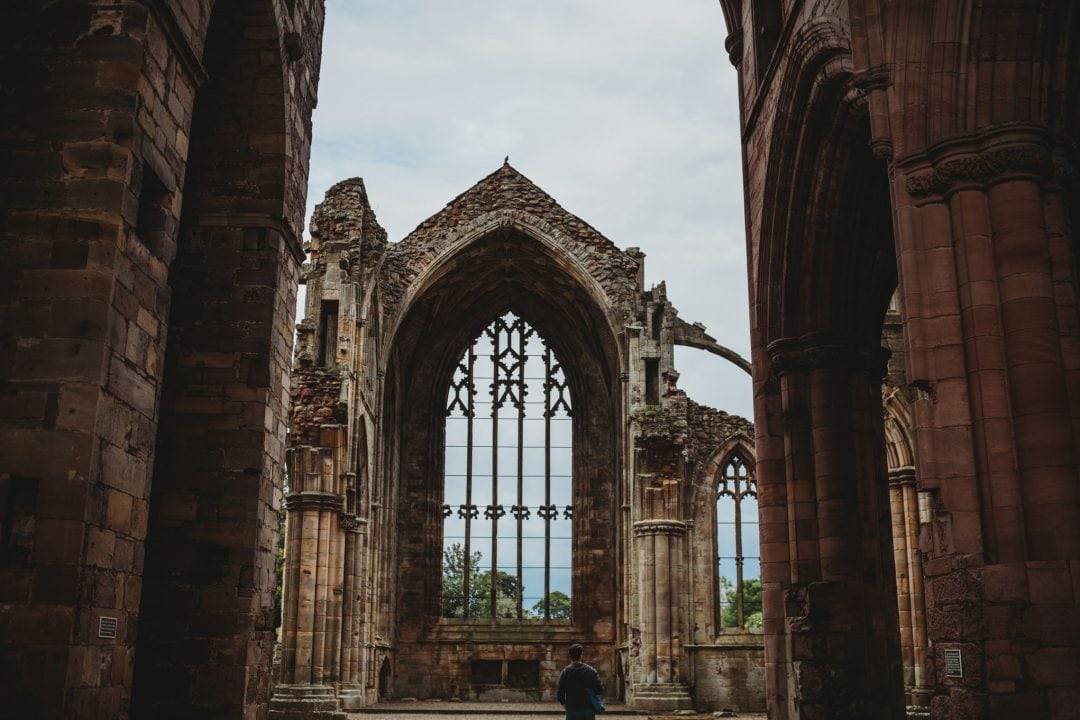 ruins at Melrose Abbey, Scottish Borders
