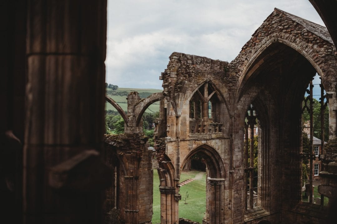 view over Melrose Abbey, Scottish Borders
