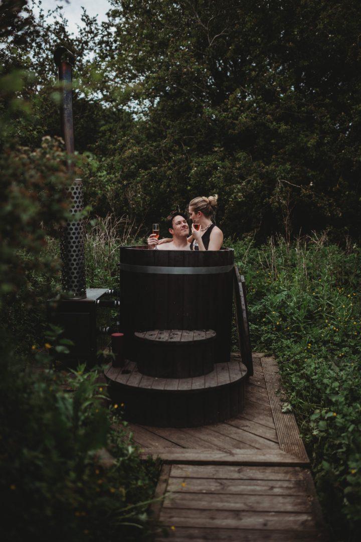 hot tub elopement celebration at roulotte retreat, Scotland