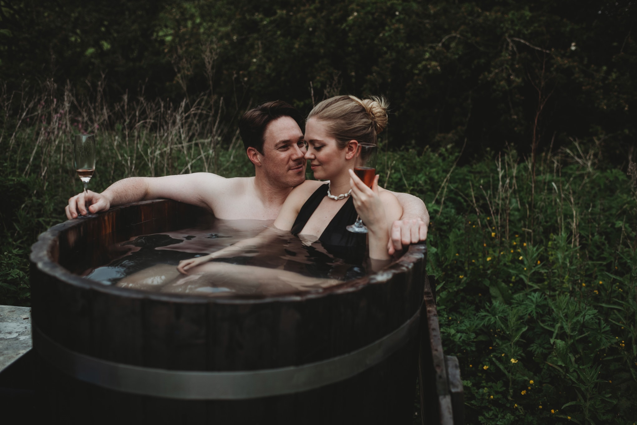 hot tub celebration at roulotte retreat, Scotland