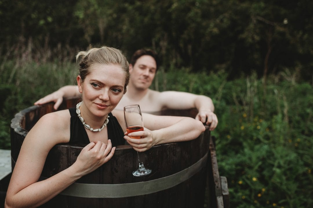 hot tub celebration at roulotte retreat, Scotland