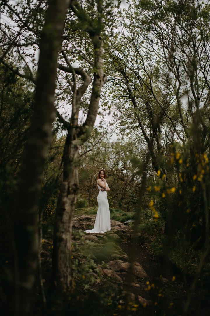 Bridal shot in woodland forest from Scottish elopement