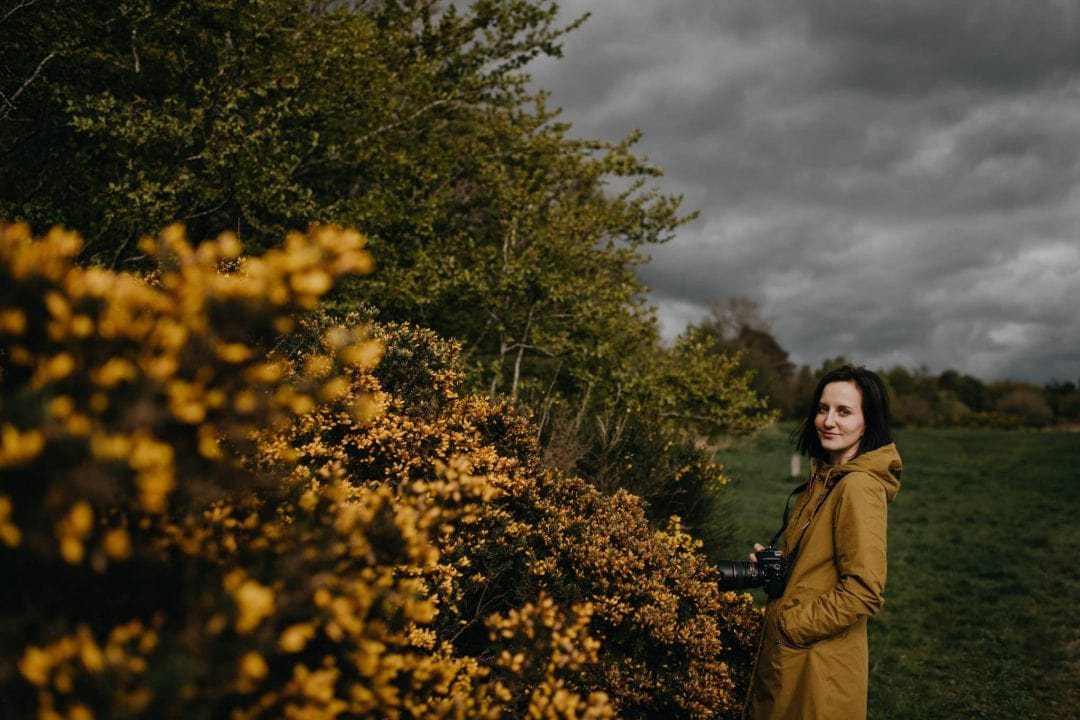 Couple shoot in nature Scotland with Natalia Swiader by yellowgorse bushes