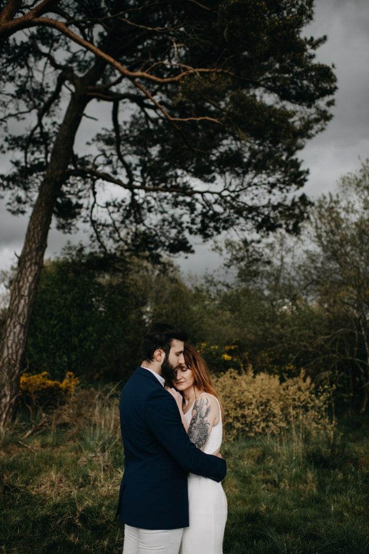 Elopement couples shoot in nature Scotland. Stormy tree shot with Lena Sabala and Patrick Zaarour on Mark Pacura workshop.