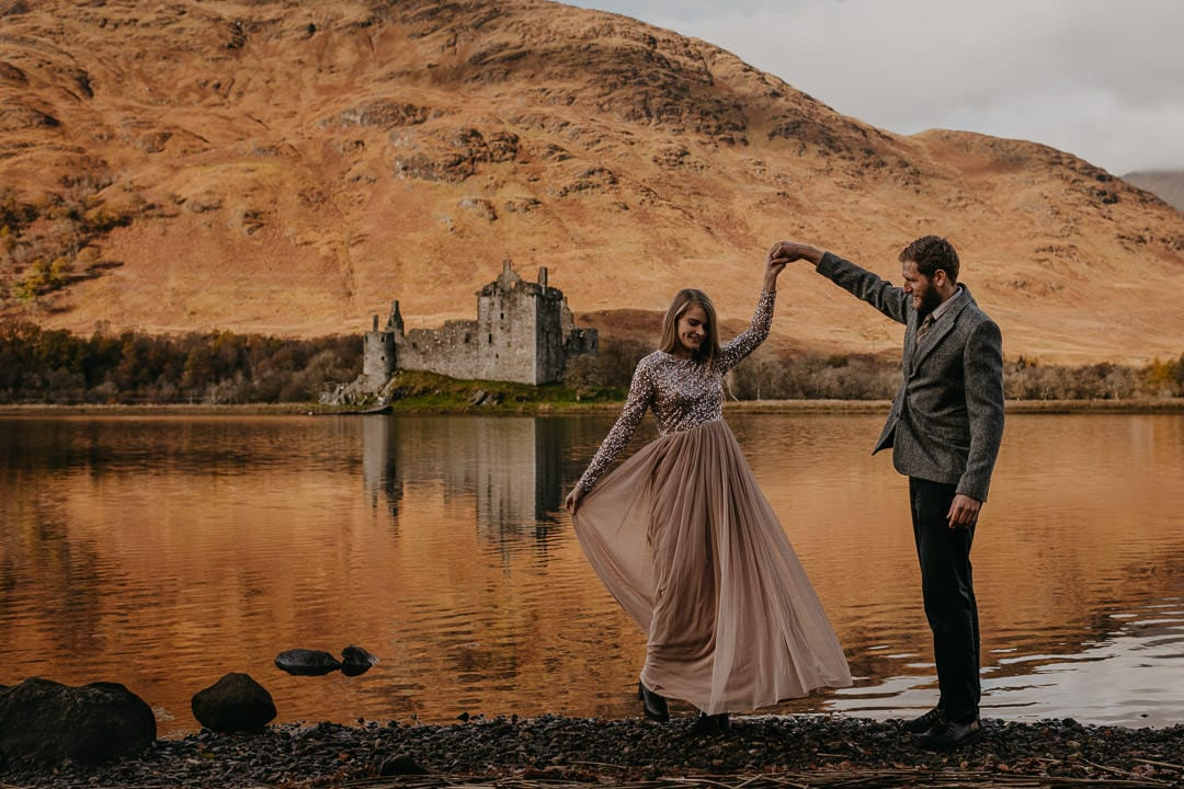 Dancing at Kilchurn Castle, Loch Awe elopement and proposal location
