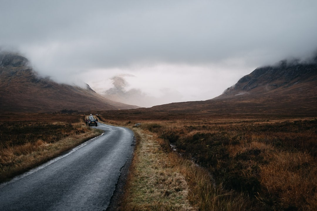 foggy glen etive road - Scotland Highlands