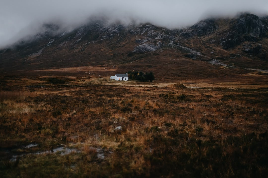 Glencoe white hut - foggy scene