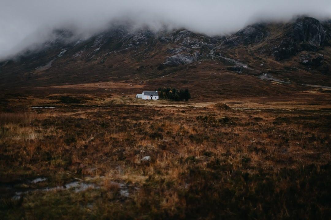 Glencoe white hut - foggy scene