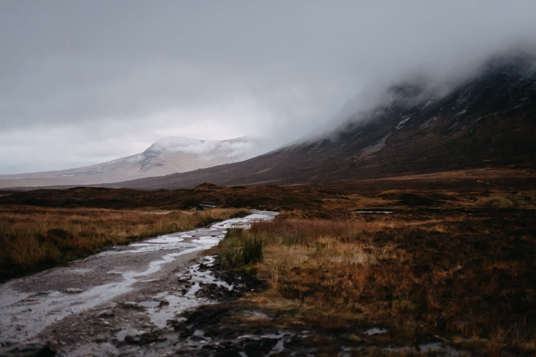 Foggy moody Glencoe mountains
