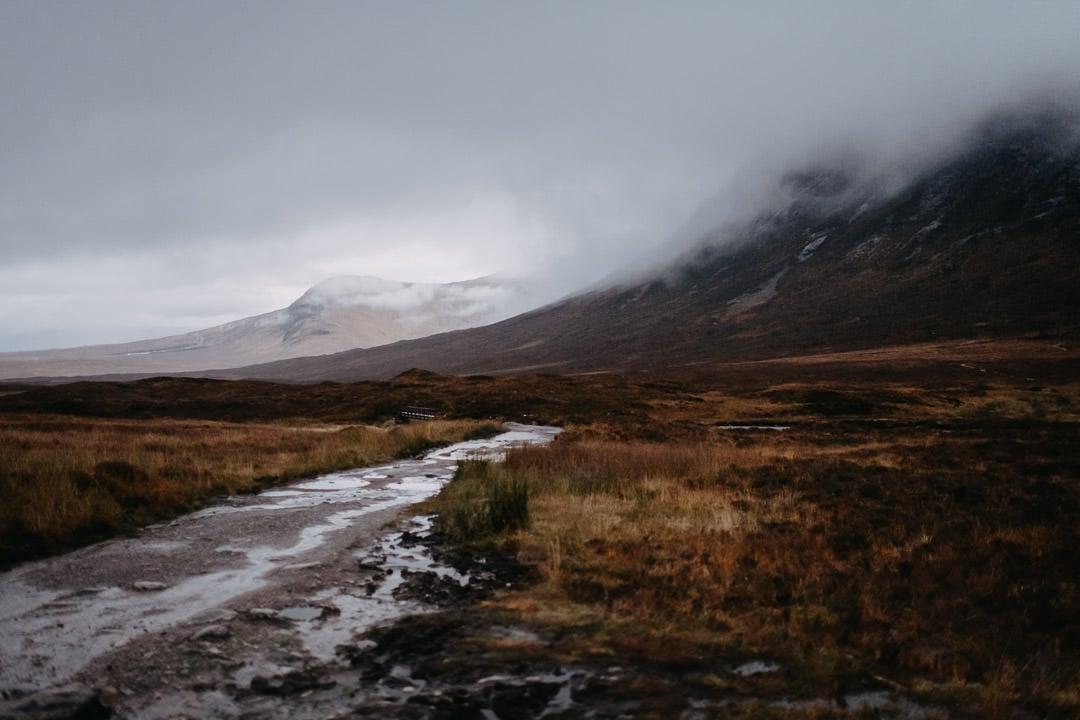 Foggy moody Glencoe mountains