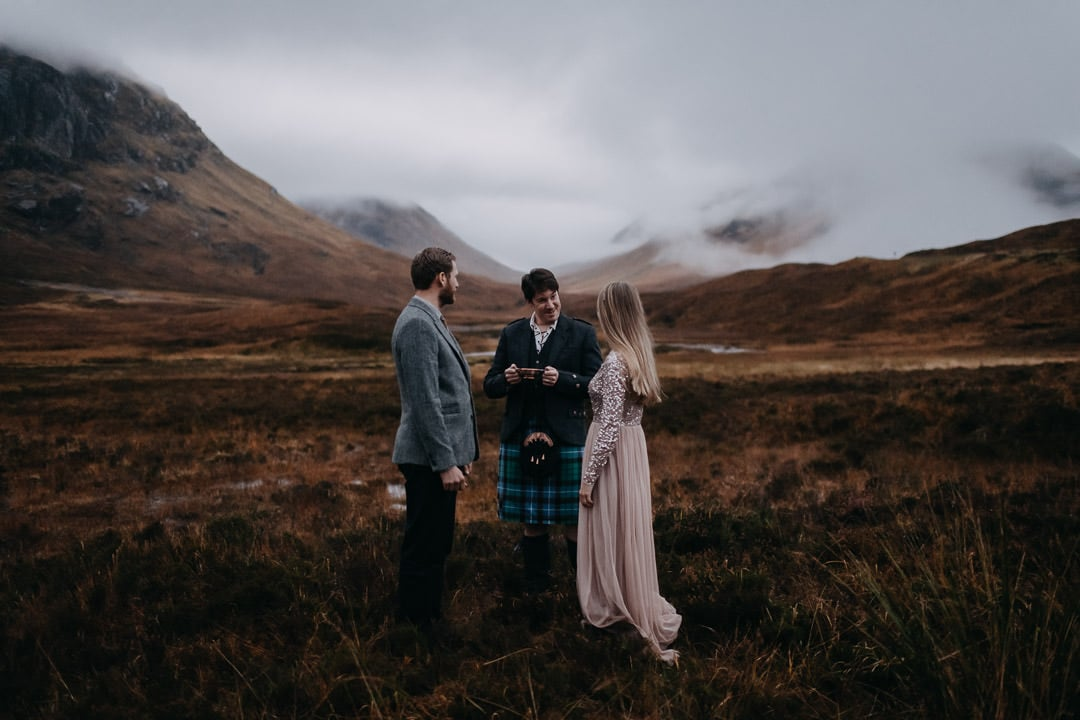 Handfasting ceremony in Glencoe Scotland - drinking the quaich