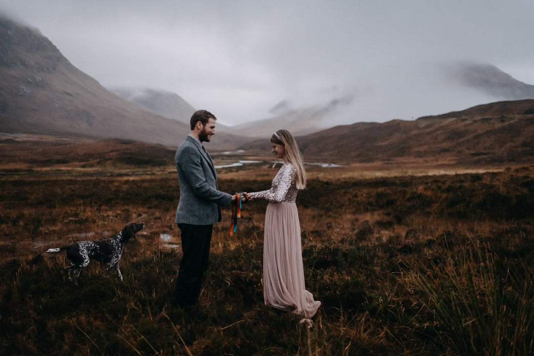 Handfasting in Glencoe - vows in the moody mountains of Scotland with dog