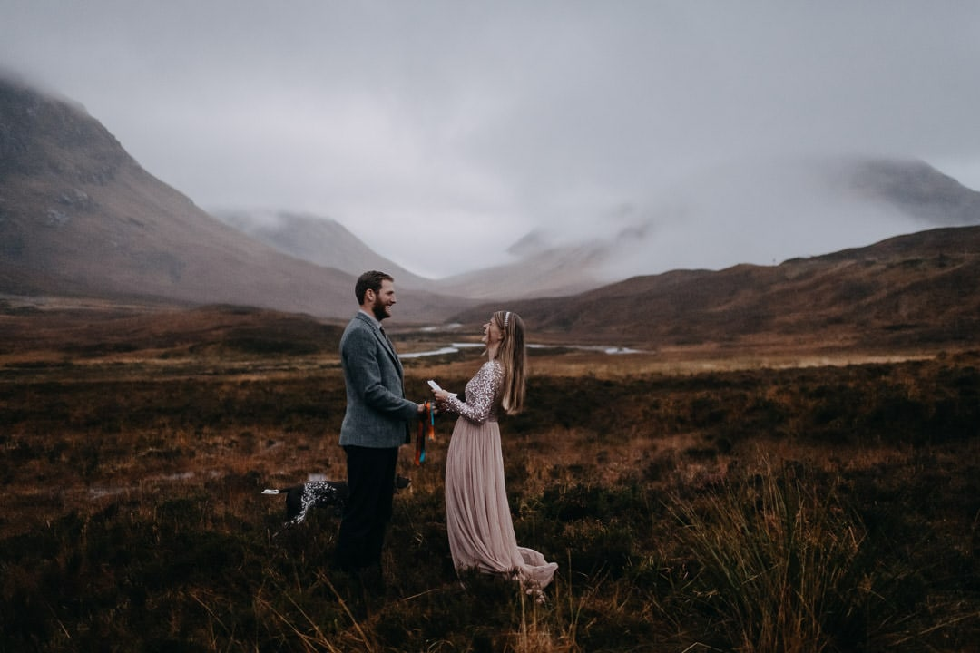 Handfasting in Glencoe - vows in the moody mountains of Scotland
