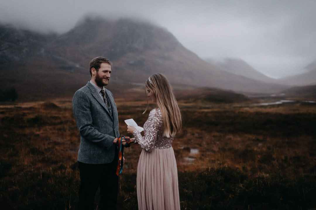 Foggy glencoe handfasting elopement vows - moody Scotland - covid-19 wedding
