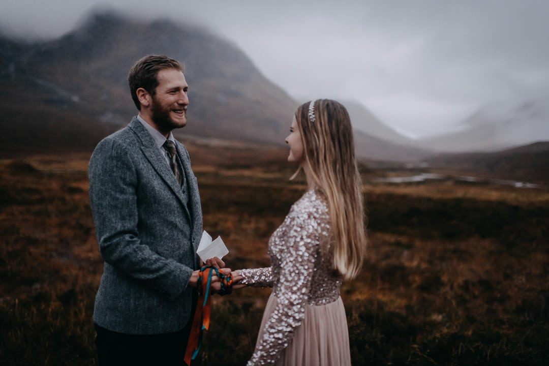 Vows at Glencoe elopement ceremony - handfasting in Scotland