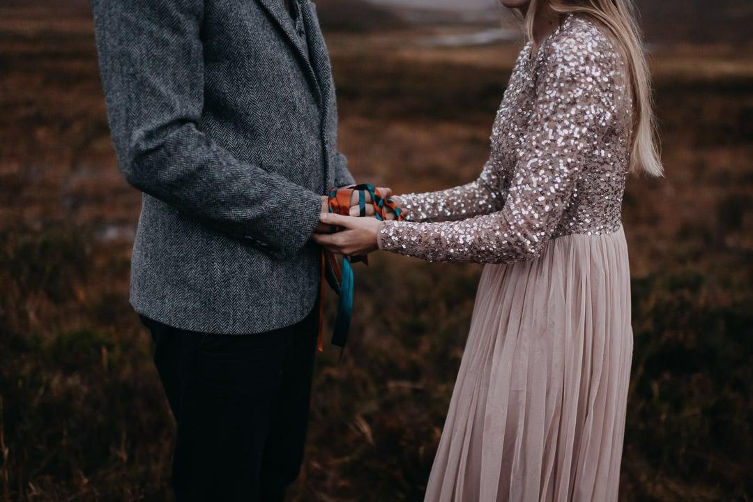 Handfasting elopement commitment ceremony in Glencoe, Scotland