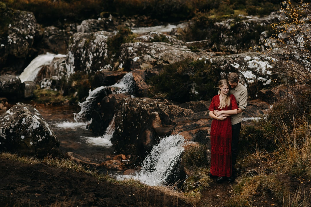 buachaille waterfalls couples shoot