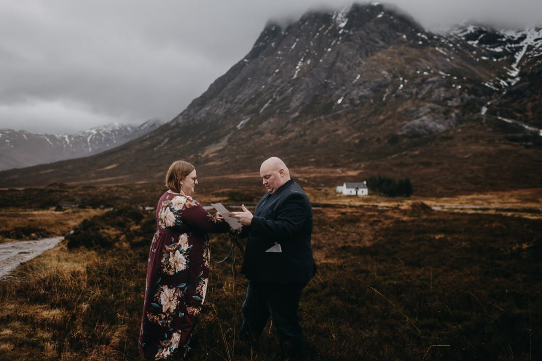 Glencoe white cottage handfasting vows in the rain of the Scottish Highlands