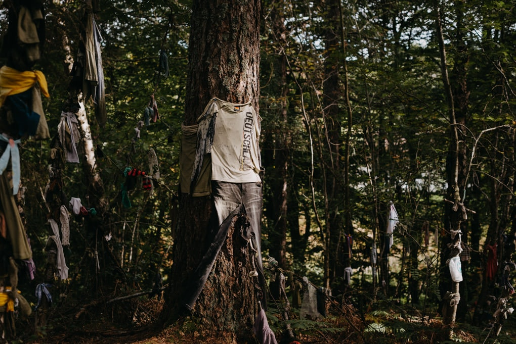 outfit tied to tree at the Black Isle clootie well