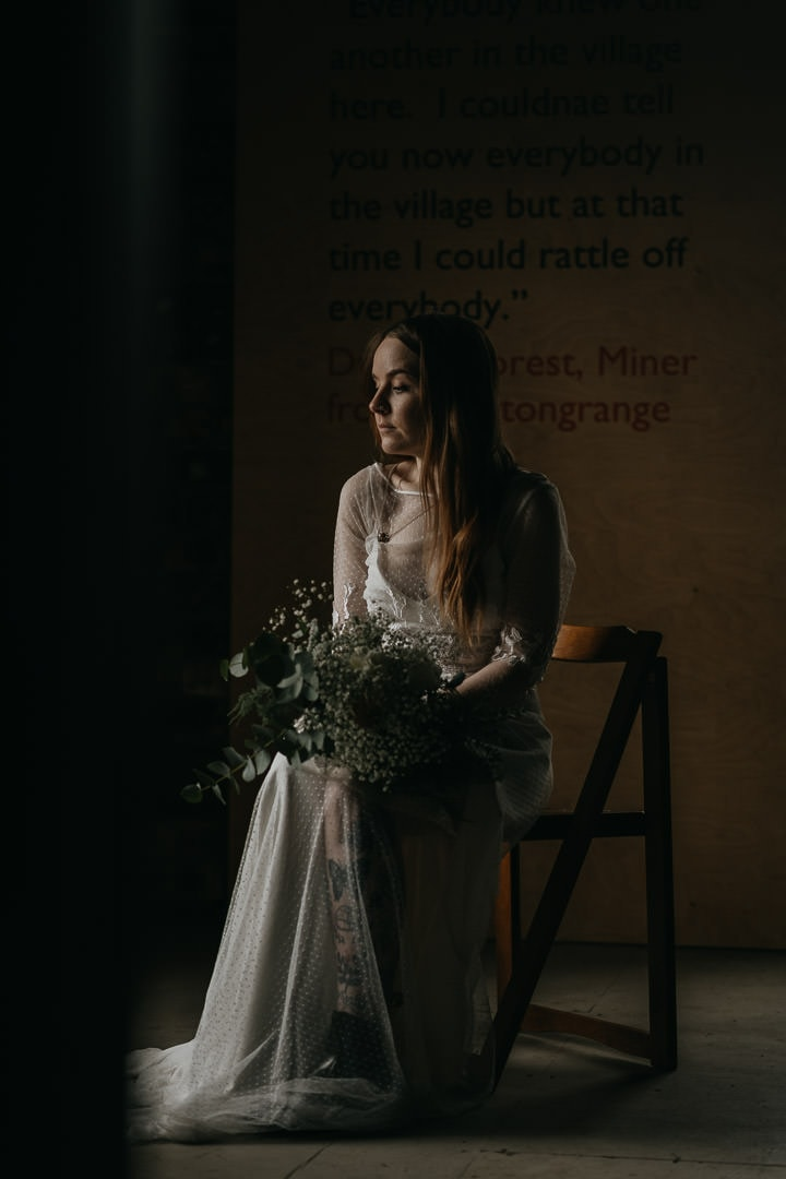 Bride moment of calm before her Scottish elopement ceremony
