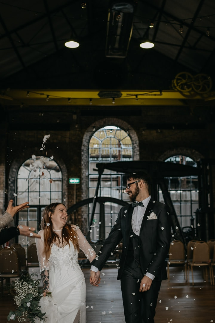 Confetti toss at Scottish elopement