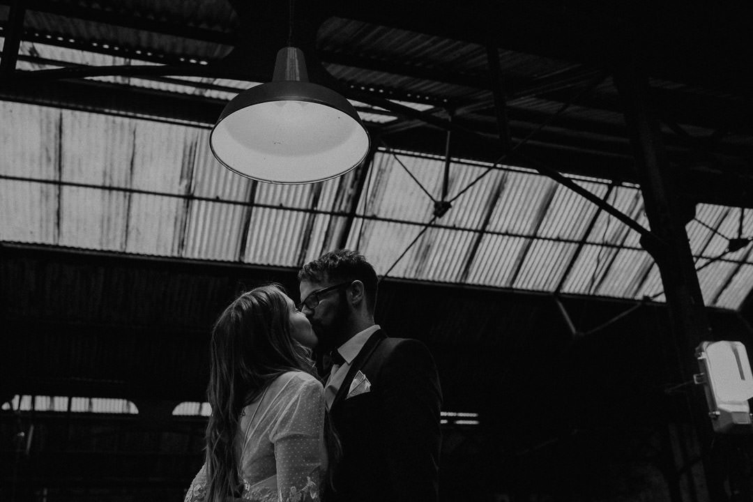 wedding couple inside the national mining museum - scotland elopement photographer