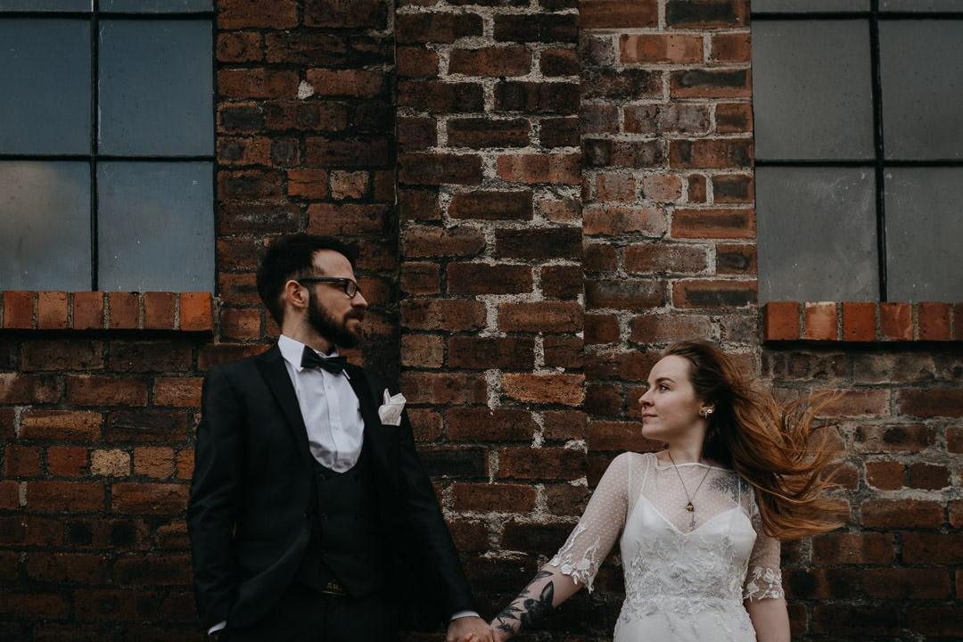 Elopement couple outside the Newbattle Mining Museum - Scotland elopement photographer