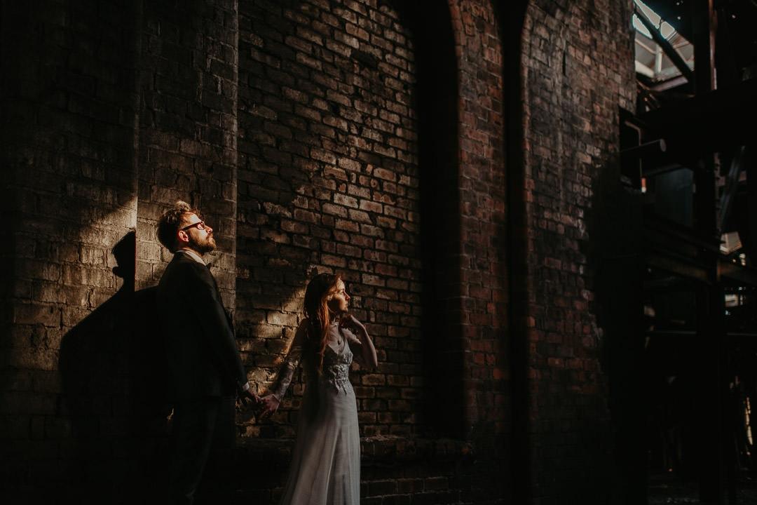 Dramatic photo of wedding couple at National Mining Museum wedding venue - scottish elopement photographer