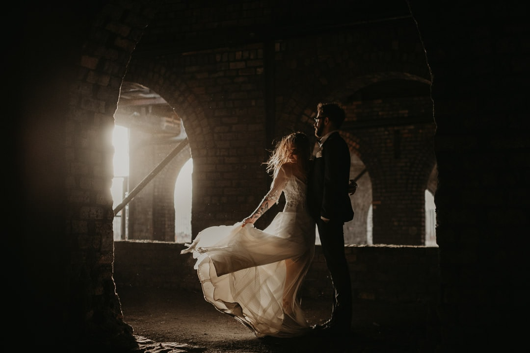 Dramatic photo of wedding couple at National Mining Museum wedding venue - scottish elopement photographer