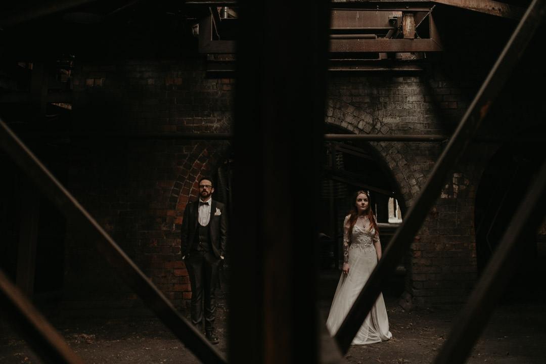 Dramatic photo of wedding couple at Mining Museum wedding venue - scottish elopement photographer