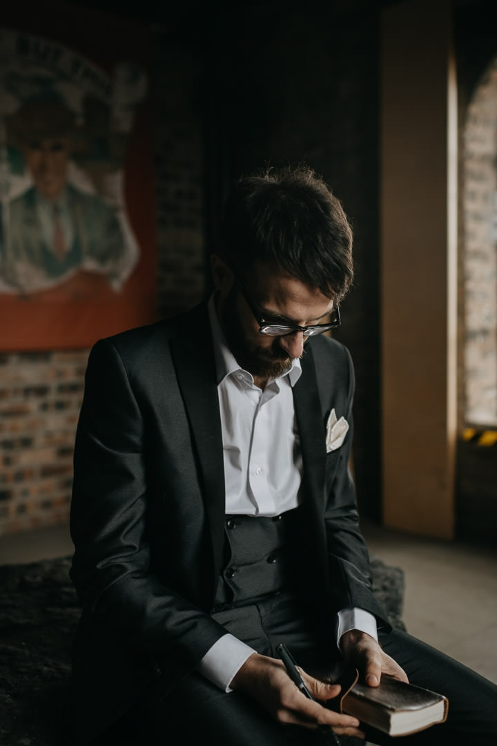 Beautiful scottish elopement moment - groom thinking about vows