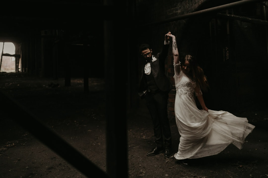 Couple dancing in dramatic Mining Museum wedding venue - scottish elopement photographer
