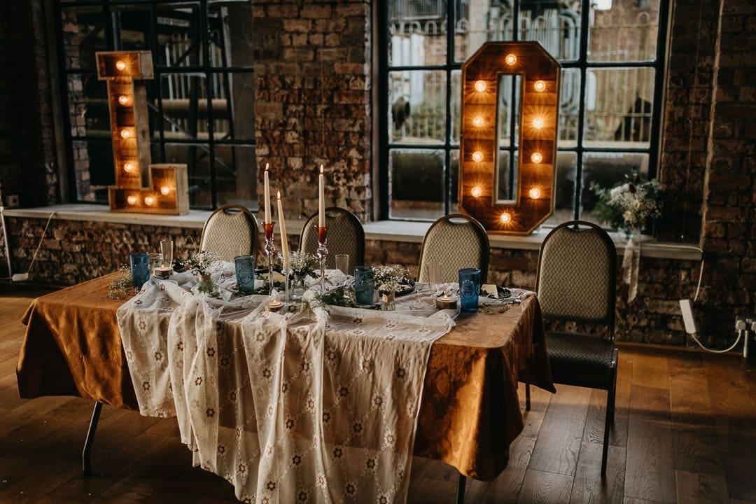 Wedding setup at the Scottish national mining museum in Newtongrange