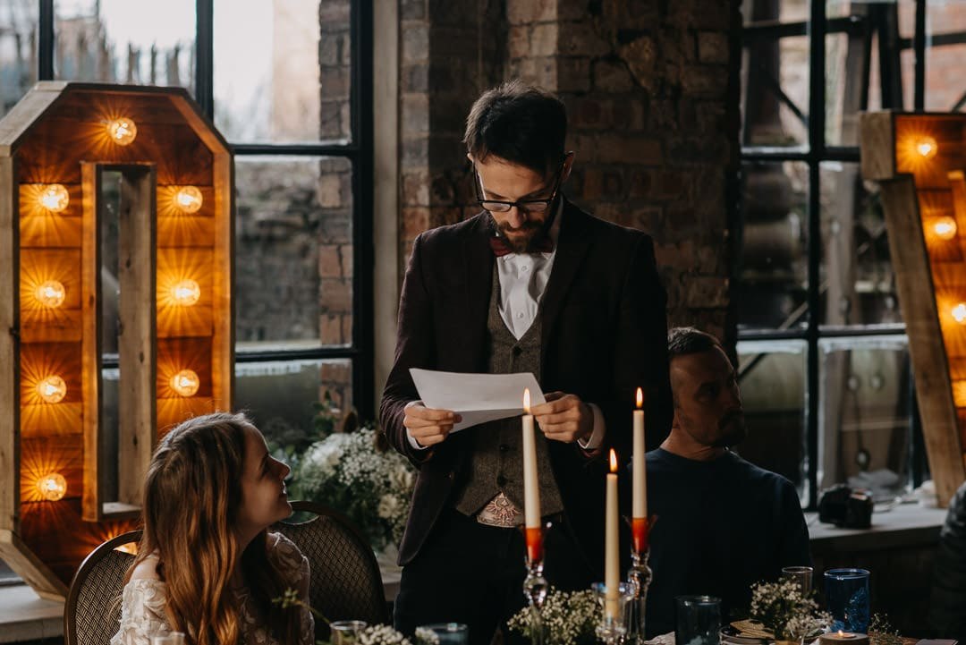 Speeches during intimate wedding at the mining museum in scotland - unusual scottish wedding venue by scottish wedding photographer