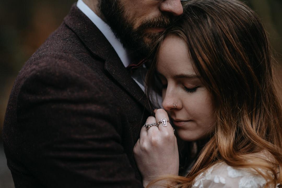Intimate romantic moment in Scottish elopement