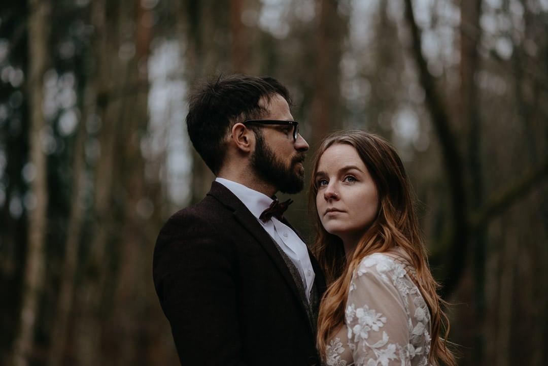 Quiet moment in Scottish woodland elopement