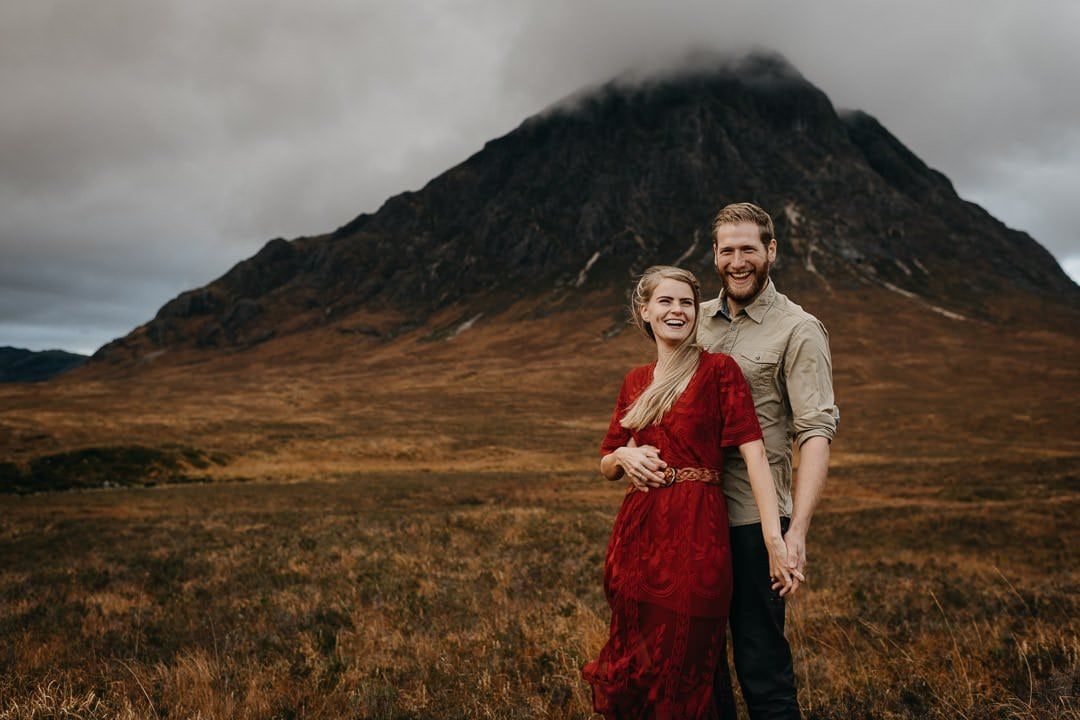 Happy couple in Glen Coe, Buachaille Etive Mòr - elopement adventure session