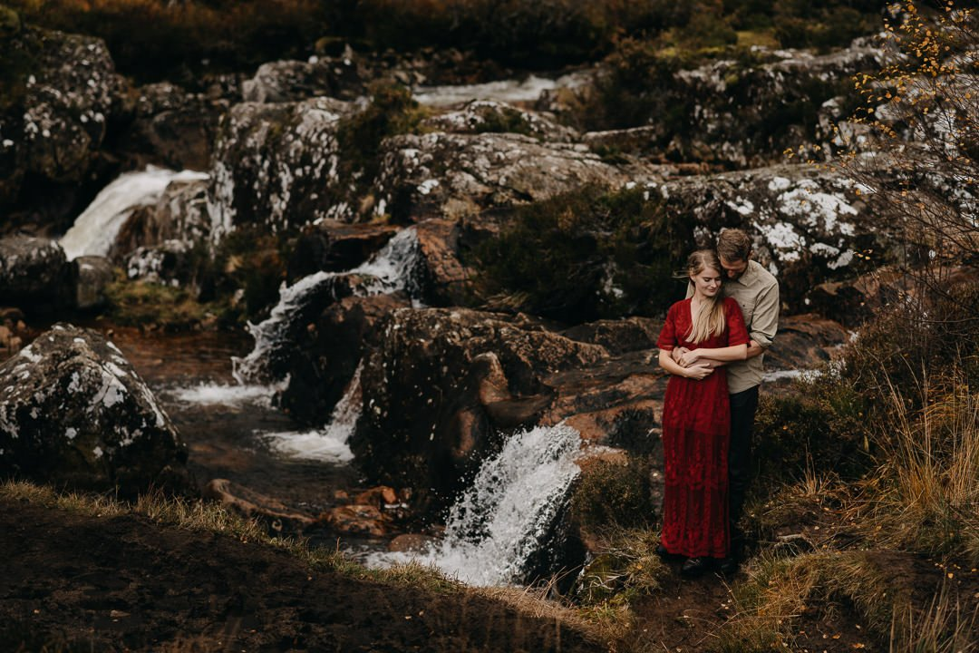 Romantic couple at Buachaille Etive Mòr, Glencoe