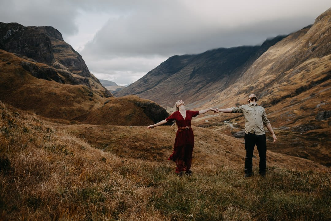 Artistic fine art photo of an engaged couple in Glen Coe with epic view